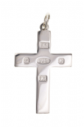 Sterling Silver Feature Hallmark Plain Flat Cross Pendant